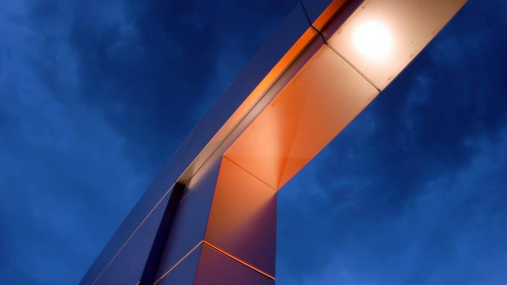 Abstract architecture at entrance to NC State University