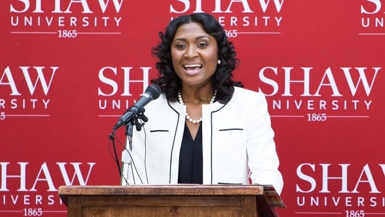 Shaw University president Tashni Bubroy at speaker's podium