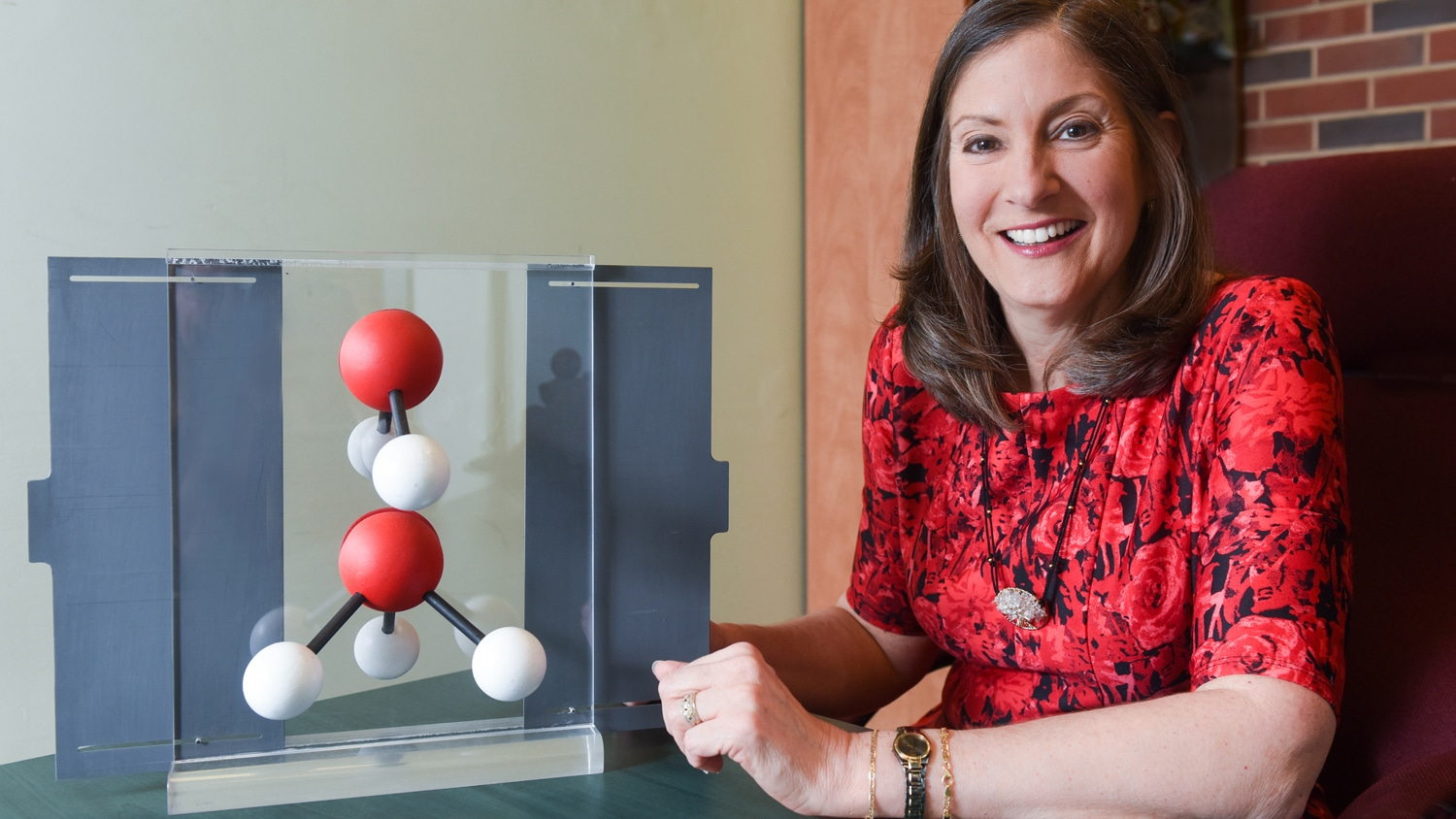 Maria Oliver-Hoyo at a desk with a molecular model