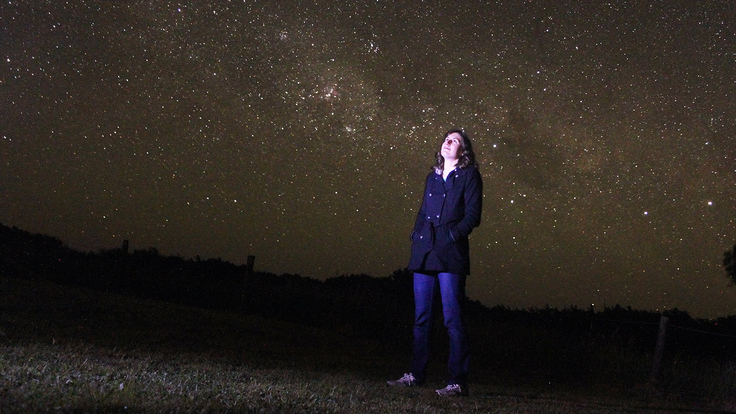 Astrophysicist Katie Mack stares up at a starry night sky