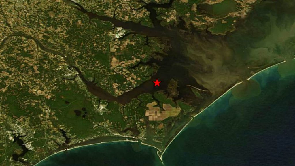 Map with Neuse River estuary