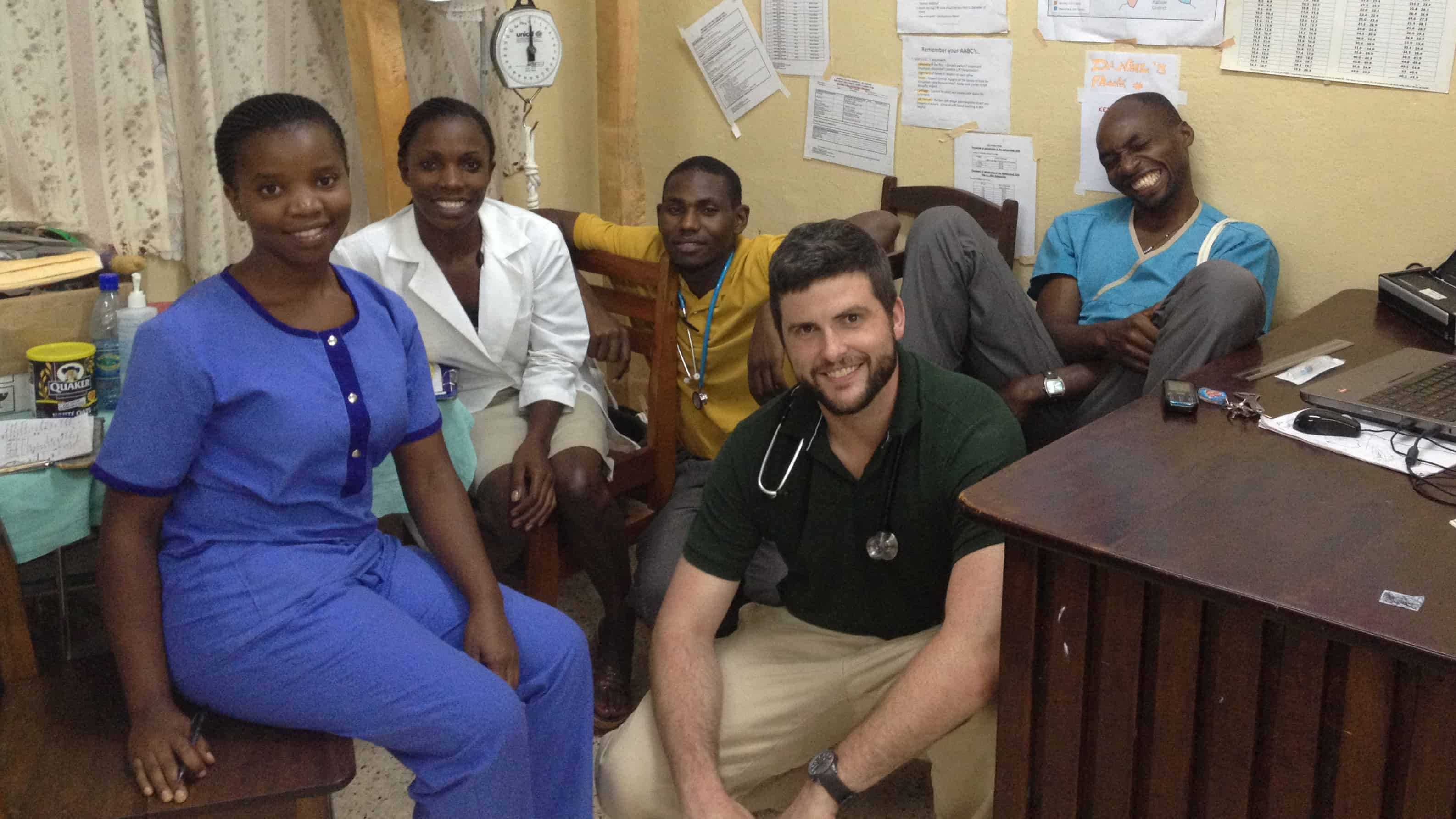 NC State alumnus Josh Sawyer at work in a medical clinic in Uganda sponsored by Global Emergency Care Collaborative
