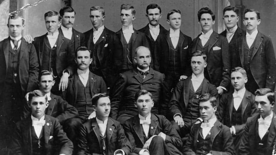 First graduating class from NC State in 1893. Frank T. Meacham, fourth from left, back row, entered the university's then new graduate program immediately after graduating earned the first master's degree in 1894.