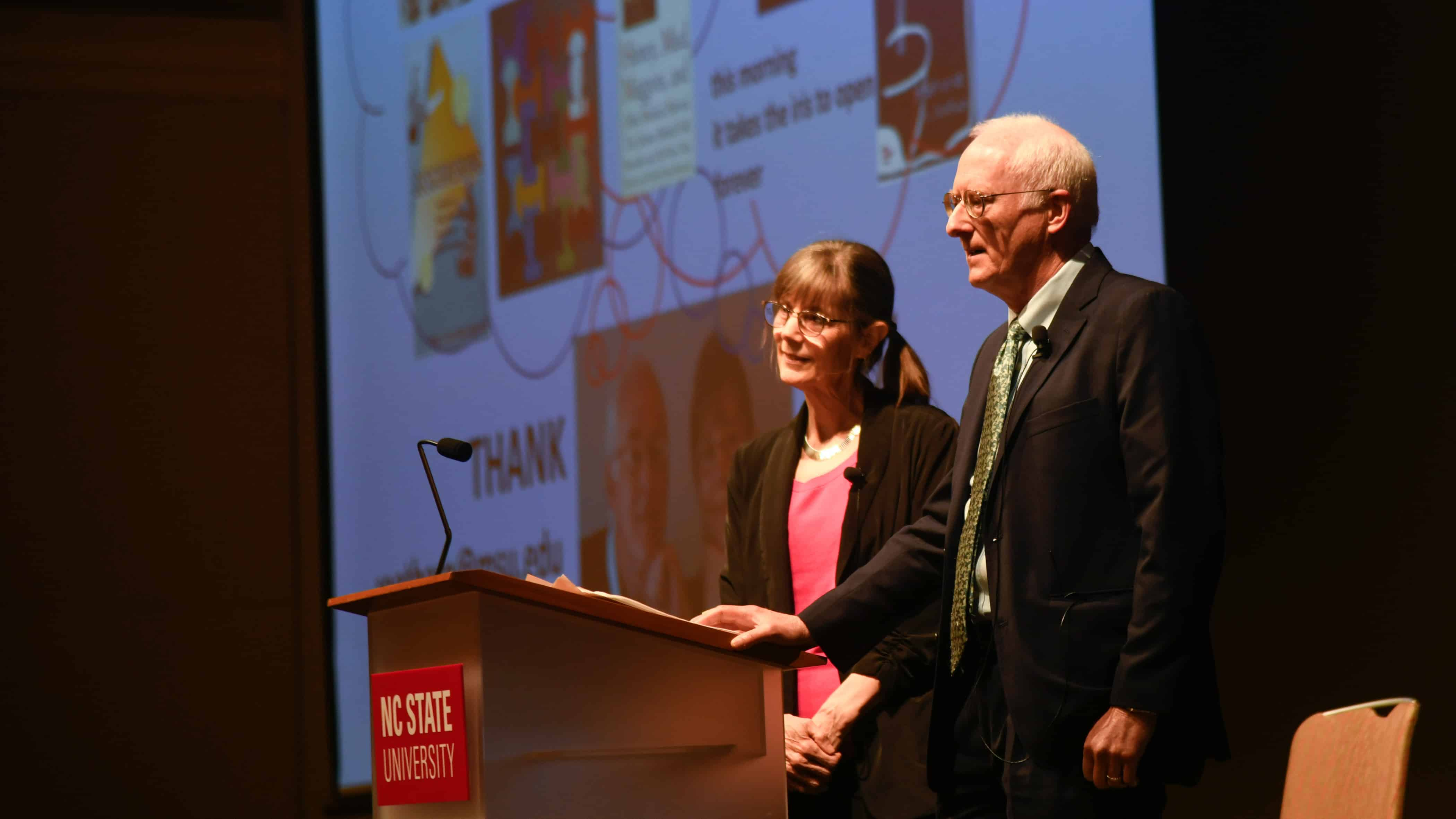 Michele and Robert-Root Bernstein on stage at their State of the Sciences lecture