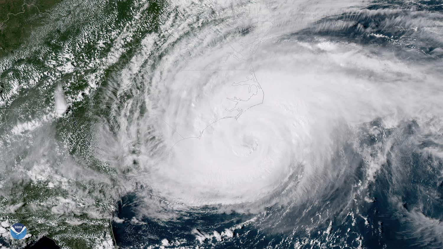 Satellite image of Hurricane Florence off the coast of North Carolina