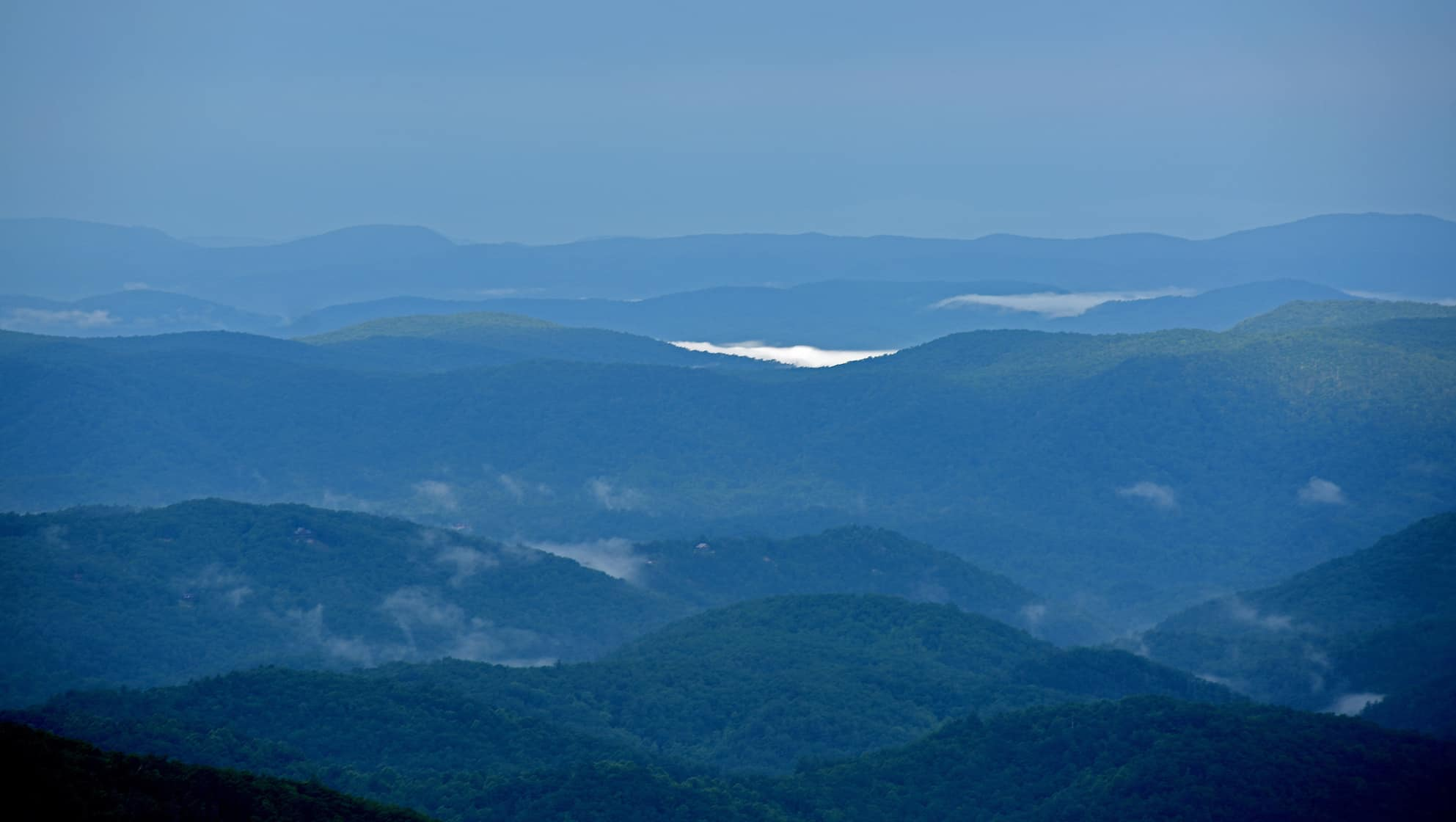 The view from Thunder Hill Overlook along the Blue Ridge Parkway in Watauga County.