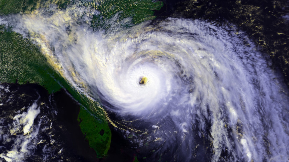 A satellite image of Hurricane Hugo