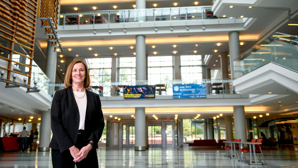 Lisa Johnson stands in Talley Student Union.