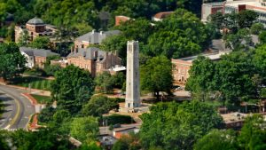 Aerial shot of belltower