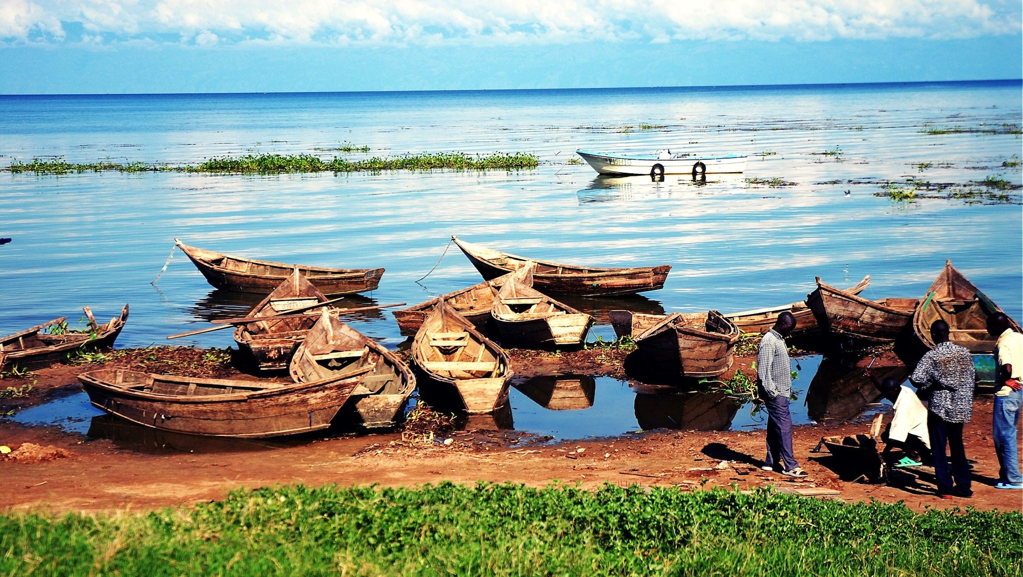 Boats on shore of Lake Victoria in Africa