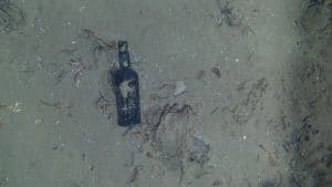 One of nine glass bottles observed at the site of a centuries-old shipwreck off the North Carolina coast. Photo credit: Woods Hood Oceanographic Institution.