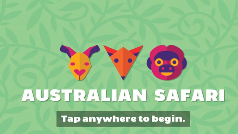 Australian Safari app cover screen