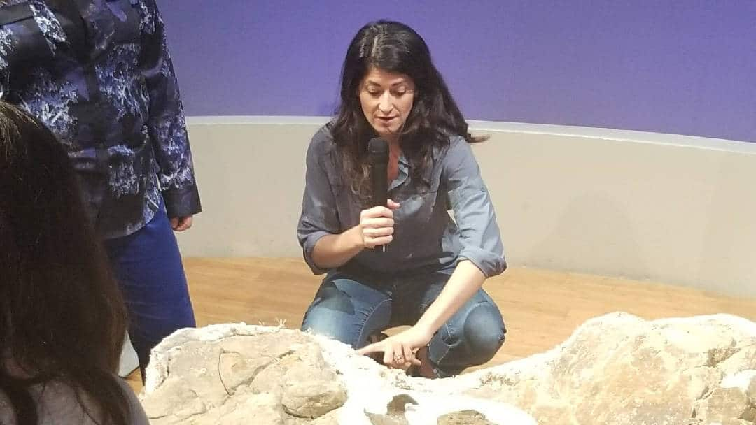 Lindsay Zanno shows off a rare dinosaur egg find at a recent event