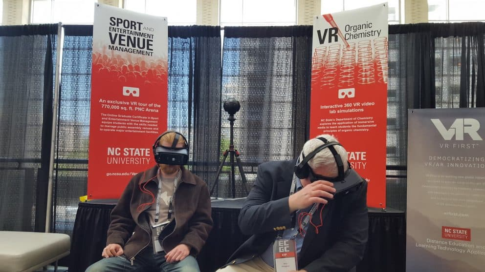 ECGC attendees experience the organic chemistry and Sport and Entertainment Venue Management VR modules