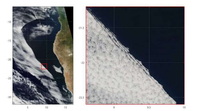 Satellite image of cloud clearing