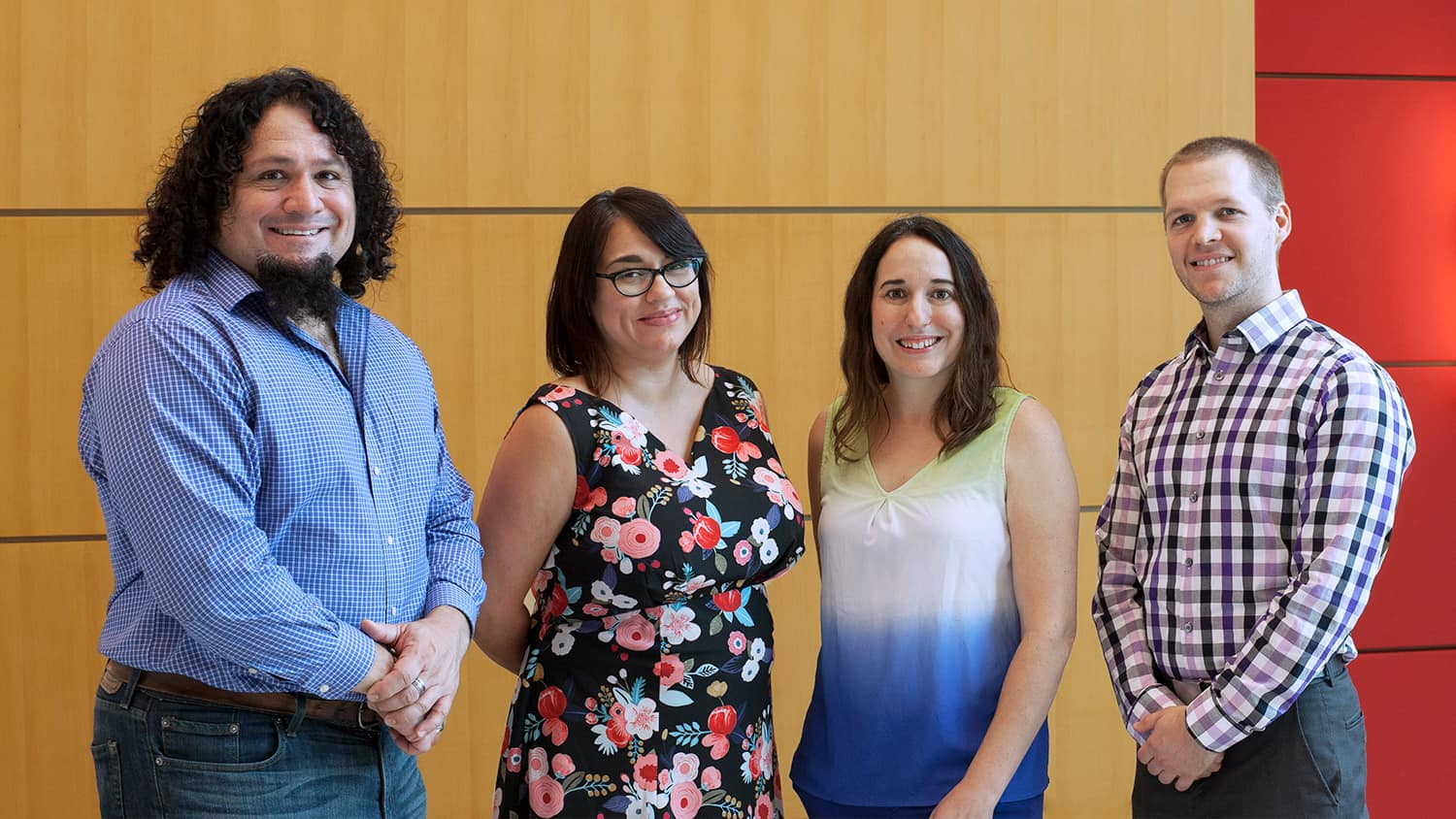 DELTA 2018-2019 Faculty Fellows left to right: James McConnell, Melissa Ramirez, Stacy Supak and Justin Post. Photo by Mike Cuales.