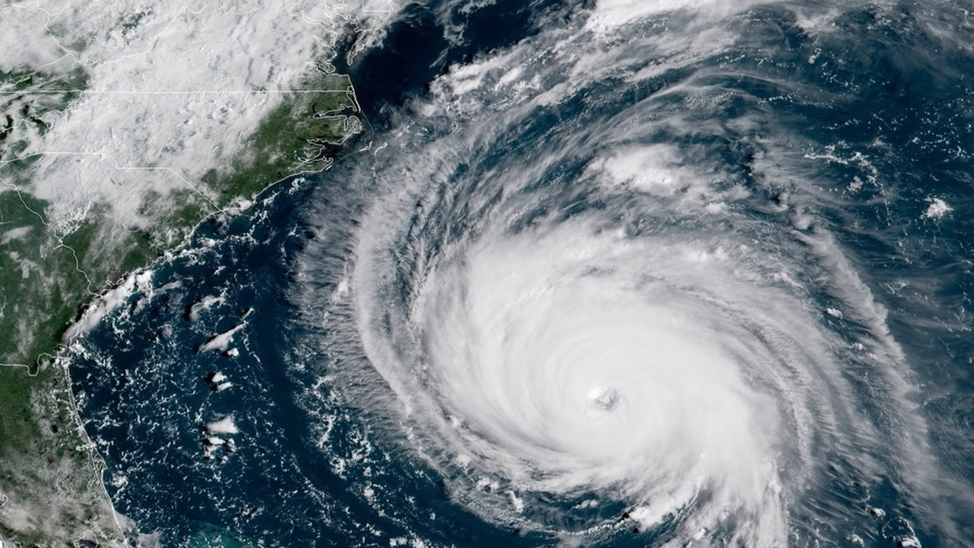 A satellite image of Hurricane Florence approaching the East Coast of the United States. Image courtesy of NOAA.