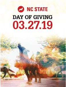 "A metal wolf in Wolf Plaza with a stylized background and the text ""NC State Day of Giving 03.27.19"""
