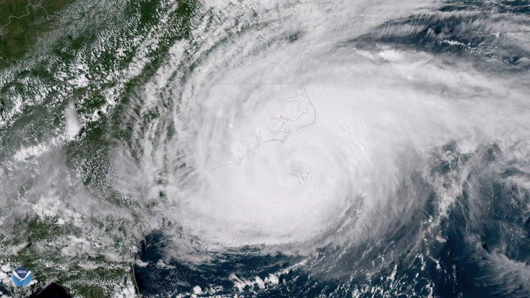 Satellite image of Hurricane Florence off the coast of North Carolina