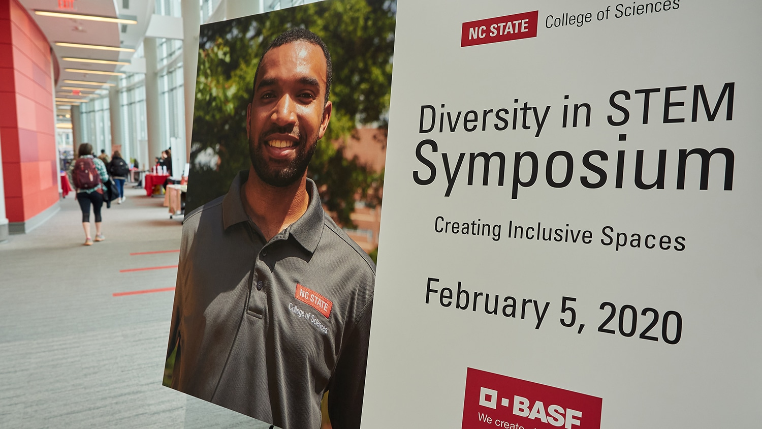 Diversity in STEM Symposium sign in a hallway