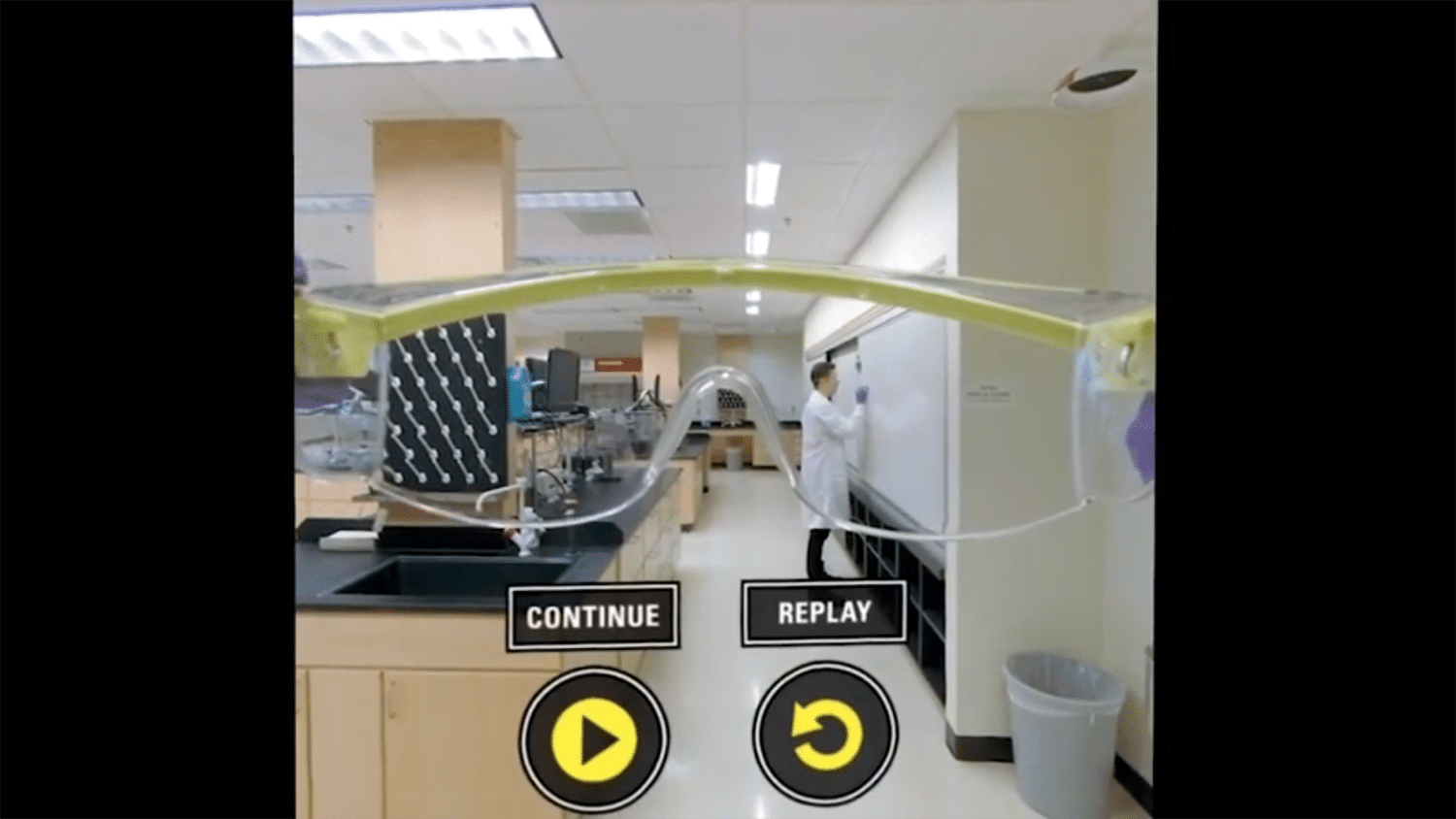 A view of a virtual reality screen showing a chemistry lab