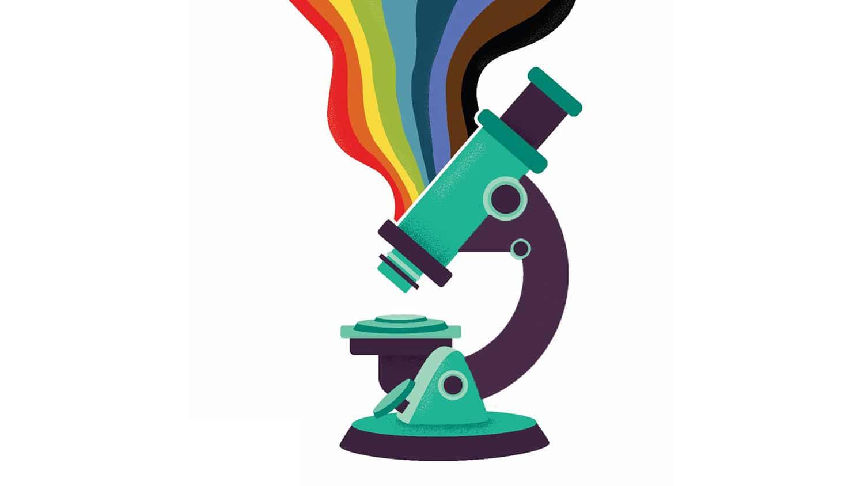 Microscope with LGBTQ+ rainbow