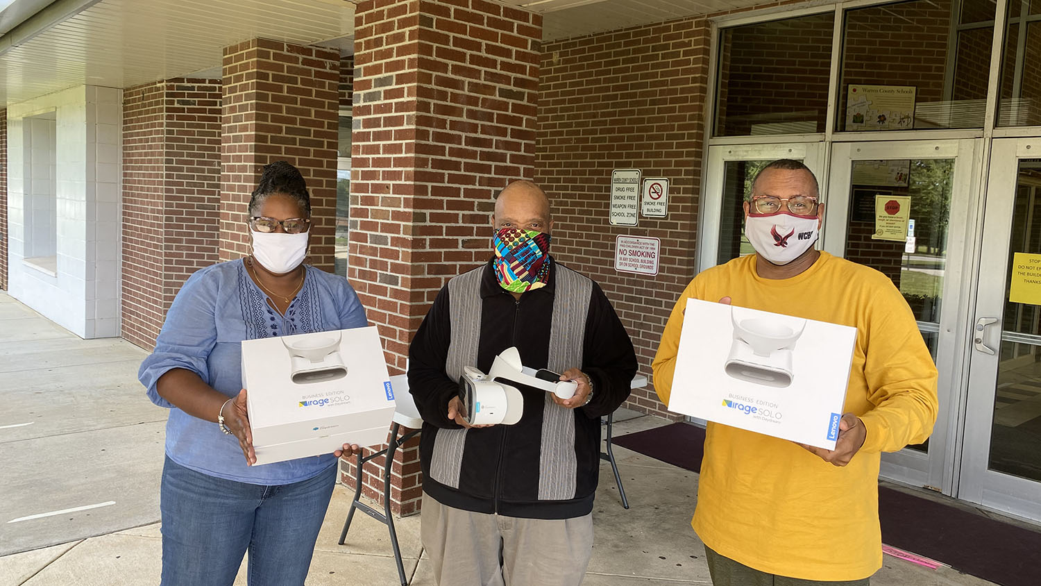 Educators in Warren County, N.C., with their donated virtual reality headsets