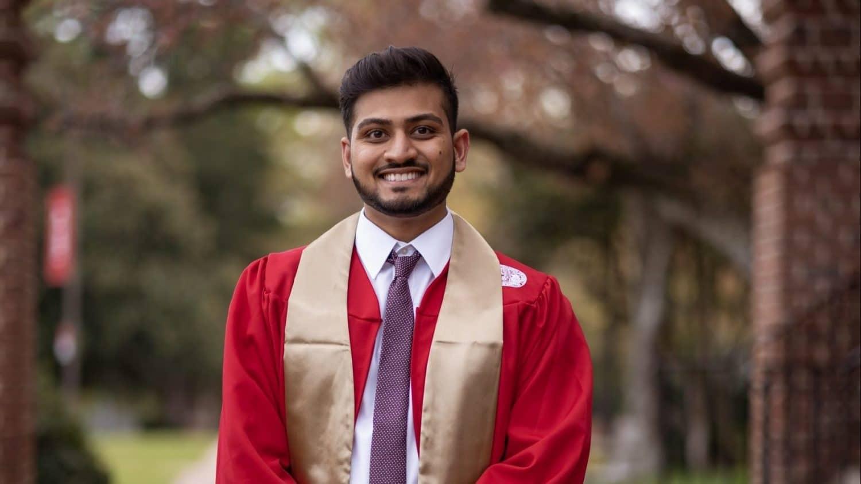 Dhuru Patel portrait in graduation gown