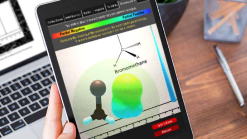A tablet displaying a 3-D molecular model on the screen