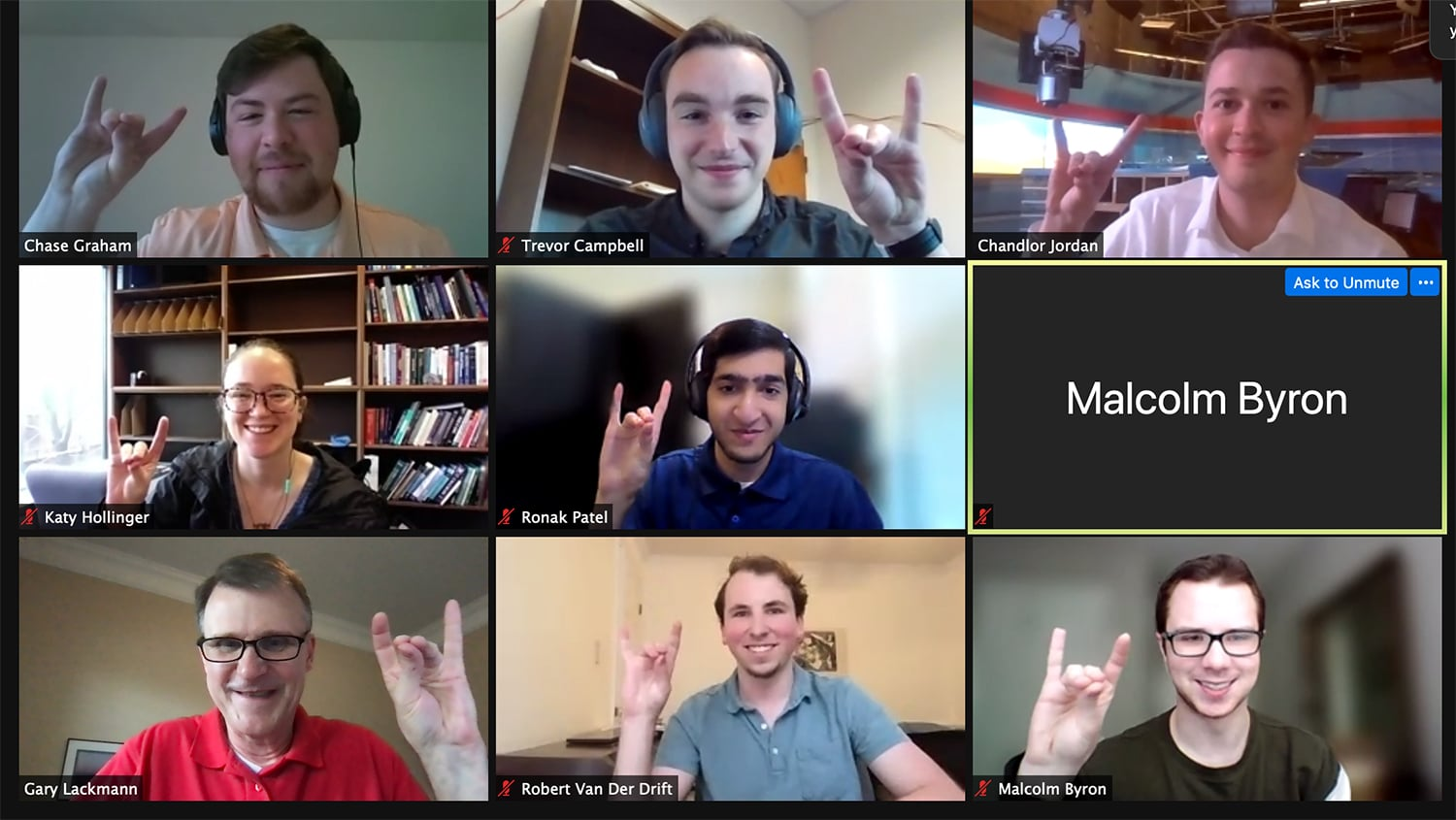 A screenshot of a Zoom meeting with the WxChallenge team members holding up wolf hands