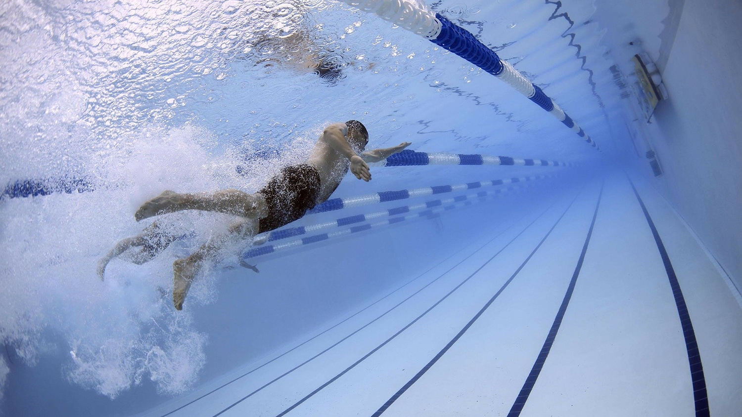 A swimmer in a pool moves through the water, photographed from underwater