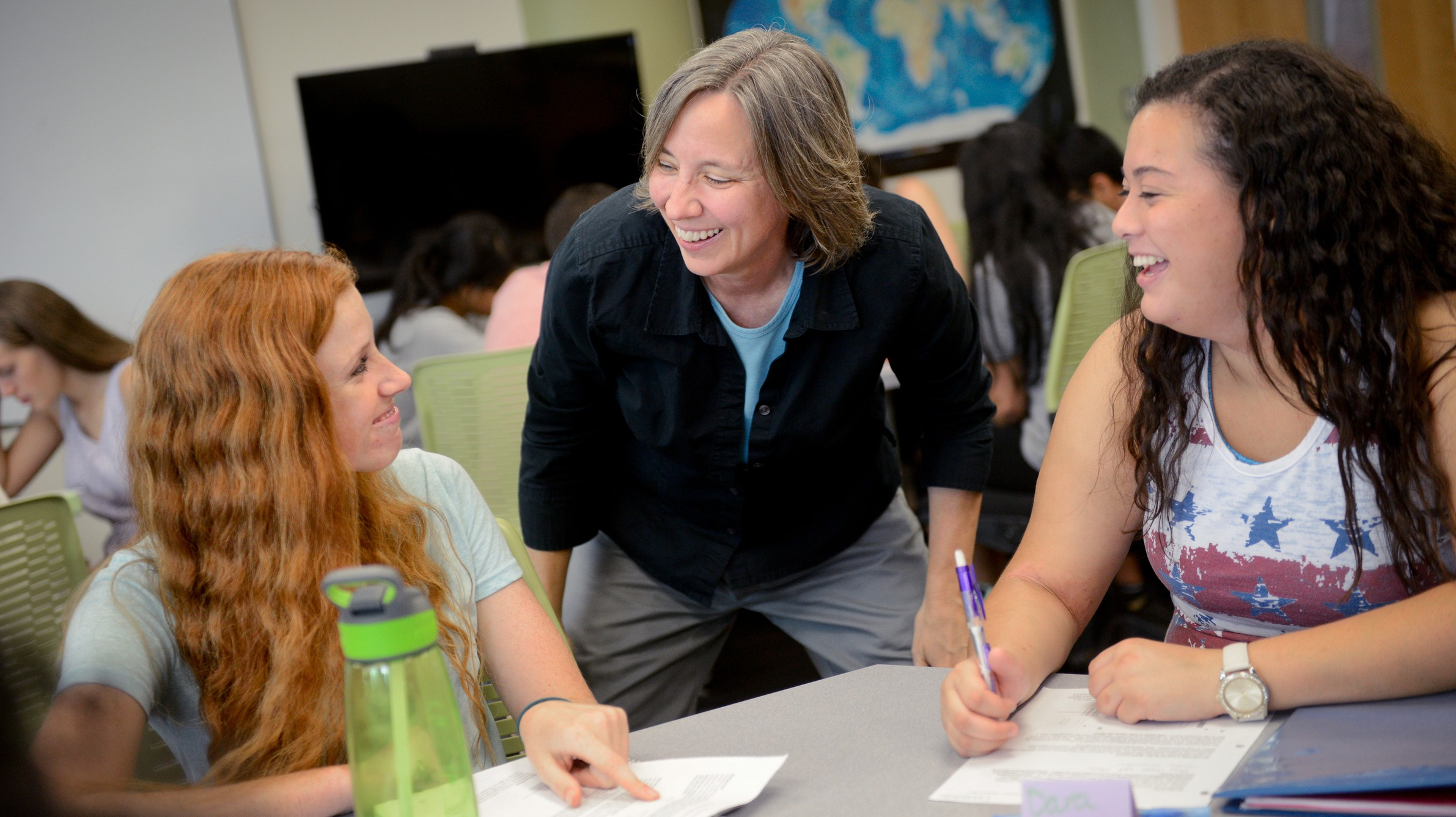 Professor helping first-year students