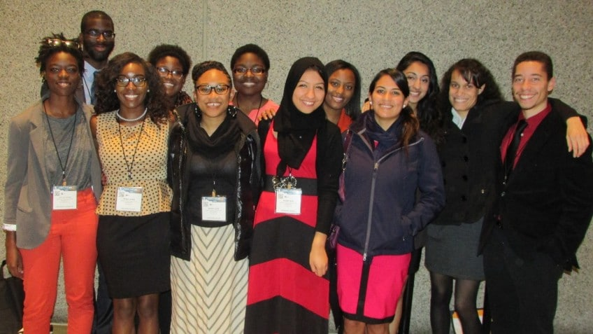 NC State's delegation to ABRCMS of Seattle includes presentation winners Ravyn Njagu (back row, second from left); Kyle Virgil (far right); Ebony Leon (front, third from left) and Rahma Hida, (front, fourth from left).