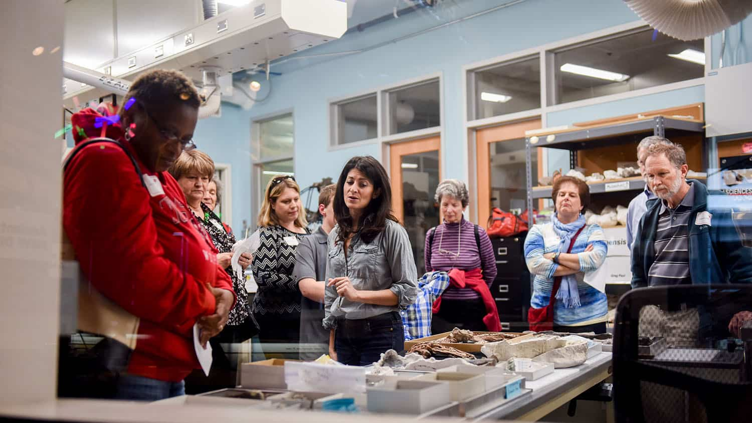 Lindsay Zanno leads a tour of her paleontology lab at the North Carolina Museum of Natural Sciences