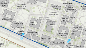 A partial view of a map of the area of the NC State campus around the Brickyard