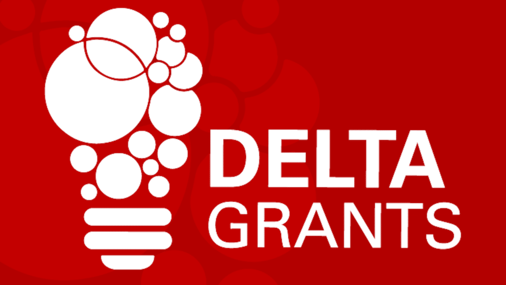 A graphic of a lightbulb with the words DELTA Grants